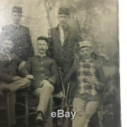 Civil War Union Tintype 1/6 Plate Featuring 5 Soldiers and Musician Camp Scene