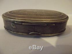 Civil War era soldier's tin tobacco box. 1800's Patent Date. C. Parker Snuff box