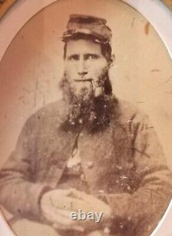 Civil War soldier, beard, smoking pipe, Confederate large oval frame photo