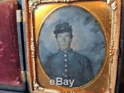 Civil War young soldier, 1/6th plate Ambrotype photo, Union case, kepi, uniform
