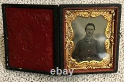 Civil war union Tintype Field Soldier US Belt 1800s Rare