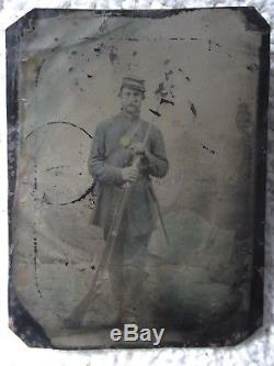 Color! Tall CIVIL War Soldier Hand Tinted Uniform 1/6 Plate Tintype Armed