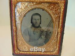 Confederate soldier with Colt Revolving Rifle Ambrotype Civil War 1/6 plate