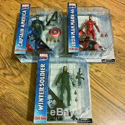 Diamond Select Marvel Civil War Captain America, Iron Man and Winter Soldier