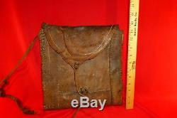 EXC CIVIL WAR ERA SOLDIER'S LEATHER HAVERSACK WITH BUCKLE & STRAP PROBABLE CS