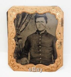 Estate Found Antique US Civil War Tintype Portrait of Union Soldier
