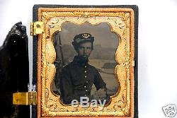 Exceptional Ambrotype Photograph Civil War Soldier withMerrimack Naval Background