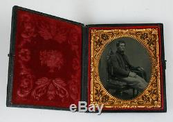 Exquisite Tinted Tintype Portrait Of CIVIL War Soldier In Case