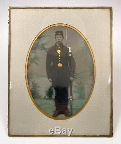 Full Plate Hand Colored Tintype US Union Civil War Soldier WithGun & Uniform