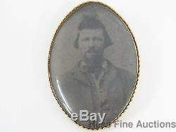 Genuine Civil War Confederate Soldier Tin Type Set in 14k Gold Pin or Pendant