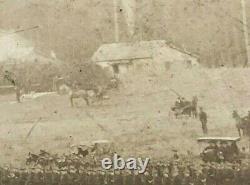 Gettysburg PA Civil War Battlefield Soldiers & Crowd Photo Framed Glass Antique