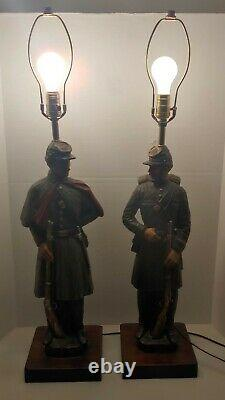 Grouping of (2) Vintage 1970's Civil War Soldier Lamps by Dunning Industries