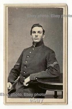 Handsome, young Civil War Union Army soldier, CDV photo, Charlestown, Mass