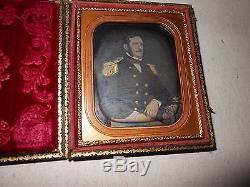 High Ranking Civil War Soldier 1/6 Plate Daguerreotype Full Case