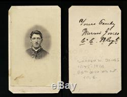 ID'd 18 Year Old Civil War Soldier WW Jones 88th Ohio Infantry Camp Chase Signed