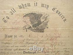Illinois CIVIL War Soldier Discharge