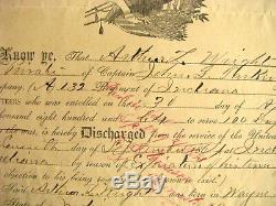 Indiana CIVIL War Soldier Discharge Indianapolis 1865