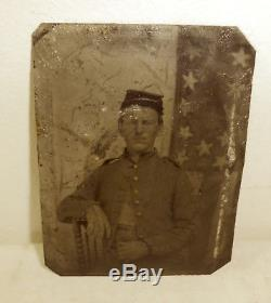 Indiana Union Civil War soldier tintype photo American flag died in battle, ID