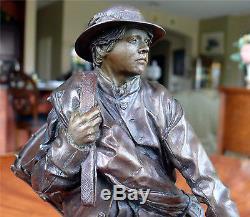 James Muir Bronze Sculpture Little Reb Civil War Era Military Soldier
