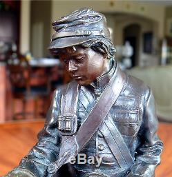 James Muir Bronze Sculpture Little Reb Civil War Era Military Soldier with Drum
