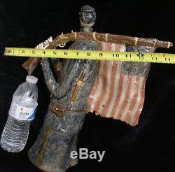 LARGE Civil War Skeleton Soldier Coin Bank 1 of a kind Folk Art by Berdej