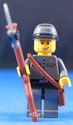 LEGO brick CIVIL WAR Custom CONFEDERATE INFANTRY SOLDIER + Bayonet & Rifle