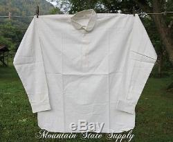 Large US Civil War Reenactors Soldiers White Muslin Cotton Long Sleeve Shirt L