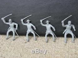 MARX CONFEDERATE CIVIL WAR CAVALRY SOLDIERS 1/32 54 MM TOY GRAY PLAYSET