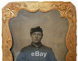 MID-19TH C ANTIQUE US CIVIL WAR UNION SOLDIER TINTYPE PHOTO WithGOLD FRAME NO CASE