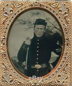 MINT MINT MINT Armed Civil War Soldier Ambrotype
