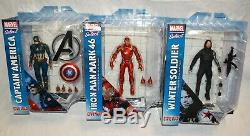 Marvel Select Captain America Civil War Iron Man Winter Soldier Set of 3 NEW