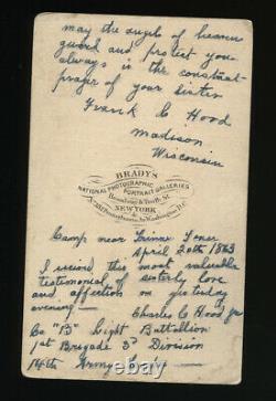 Mathew Brady CDV with Handwritten Note By Civil War Soldier XIV Union Army Corps