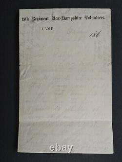 New Hampshire Civil War 1862 New Orleans 15th NH Letter Sheet Soldiers Letter