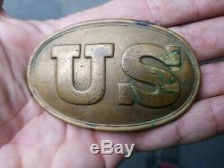 ORIG Civil War Union Army US Infantry Soldier Uniform Belt Buckle Unique Back
