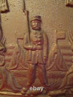ORIGINAL CIVIL WAR CAST IRON STOVE DOOR Armed Soldier/Cannon/Wreath/Tents