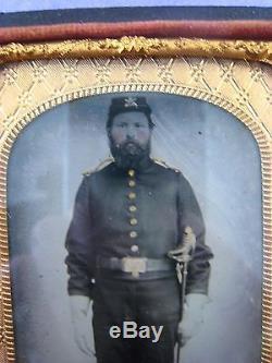 Original CIVIL War Era Tintype. Full Uniform, Tinted. Cavalry, Sword, Soldier