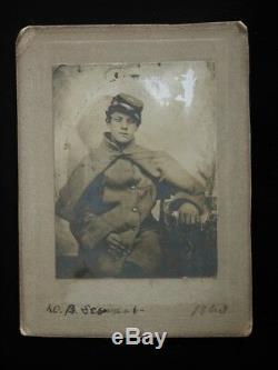 Orig Vtg CIVIL WAR Soldier Postcard Photograph DB Stewart 1863 Photo