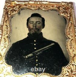 Original 6th Plate Size Civil War Soldier Holding a 1860 Colt Pistol 3 Day List