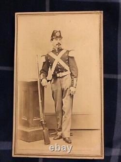 Original Armed Civil War Soldier with Militia Uniform and Musket