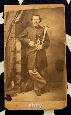 Original CIVIL War CDV Photo Camp Chase, Ohio Musician Soldier With Instrument