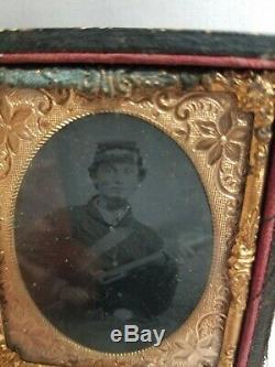 Original CIVIL War Era Tin Type Photo With Real Hair Samples Memorial Soldier