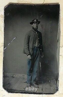 Original CIVIL War Era Tintype Confederate Artillery Soldier Hand Colored