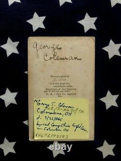 Original CIVIL War Id'd CDV Photo Of 20th Ohio O. V. I. Soldier M. Witt Columbus