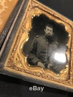 Original Civil War 1/6th Plate Ruby Ambrotype Soldier With Hardee Hat & Epaulettes