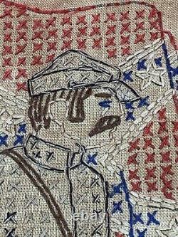 Original Civil War Era Confederate Soldier Stitch Work Folk Art Souvenir