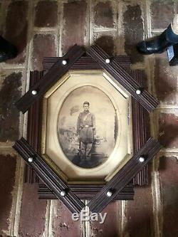 Original Large Format Photograph Civil War Soldier Very Good Condition