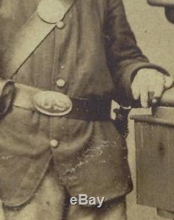 PA Young Civil War soldier cdv photograph U. S. Buckle Breast Plate J. W. Hurn
