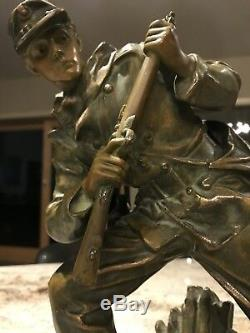 Pair Cast Bronzed and Polychrome Metal Civil War Soldiers by BRADLEY & HUBBARD