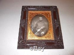 Pre-Civil War Soldier 1/4 Plate Daguerreotype Thermoplastic Hanging Frame