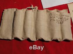 RARE CIVIL WAR ERA 106TH PA-SOLDIER'S MEDICAL BAG WITH GLASS SCREW TOP BOTTLES